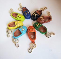 $enCountryForm.capitalKeyWord Australia - Luxury Leather cowhide small shoes key ring pendant mini cute men and women couples gift bag car key ornaments