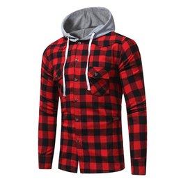 Marca 2019 Moda Hombre Camisa de manga larga Tops Moda Camisa a cuadros con capucha de algodón Casual para hombre Camisas de vestir Hombres Slim en venta