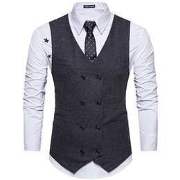 wool vest fashion Australia - 2020 Custom Made Tweed Men Suit Vest Khaki Formal Dress Suit Vest Woolen Fashion Slim Fit Waistcoat New Arrival