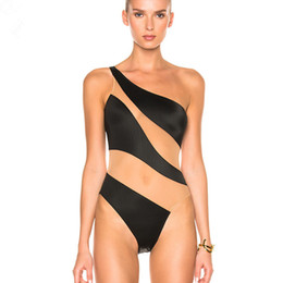$enCountryForm.capitalKeyWord UK - Off Shoulder Swimwear Sexy Women irregular High Cut Swimsuit For Mesh One Piece Bathing Suit Beachwear 2018 Summer See Through Bodysuit