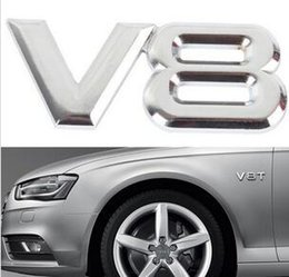 car sticker auto emblems Canada - 3d Metal V8 Car Sticker Emblem Badge Sticker Decal Silver Sticker Auto Car Styling