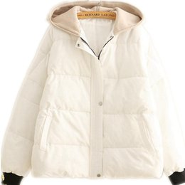 Wholesale Winter Women Japan Style Jackets New Hooded Down Cotton Coats Button Winter Jacket Loose Short Female Cotton Padded CQ2694