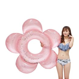 140cm Giant Sun Flower With Glitter Swimming Ring Gold Pink Sparkles Pool Float Inflatable Tube Summer Party Toys Air Mattress Home