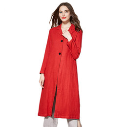 fc450ae09 Women Windbreaker 2019 New Autumn Chinese Style Casual Suit Collar  Outerwear Medium Long Large Size Cotton And Linen Coat Lj327