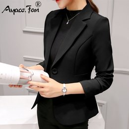 Ruffled Suits Blazers NZ - New Spring Autumn Slim Fit Women Formal Blazers Office Work Suit Open Front Notched Ladies Solid Black Coat Fashion Coats Tops #408482