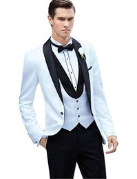 Bussiness Suits Australia - Men's Suits 3 Piece Slim Fit Wedding Tuxedo Suit for Men Formal Suit Jackets Waistcoat Trousers Suit for Wedding Bussiness