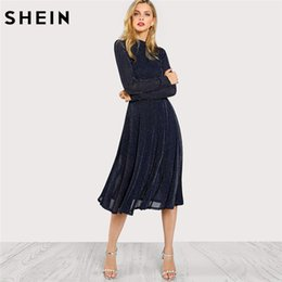 24d123ff1b Shein A Line Ladies Dresses Navy Long Sleeve Mock Neck Glitter Fit Abd  Flare Dress Stand Collar Elegant Party Dress T190408