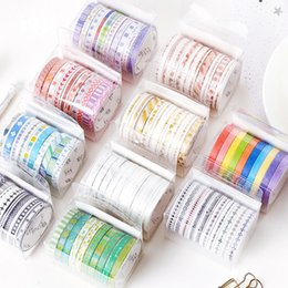 $enCountryForm.capitalKeyWord Australia - 2019 10pcs set Black Foiled Washi Tape Japanese Paper DIY Planner Masking Tape Adhesive Tapes Stickers Decorative Stationery Tapes 2016