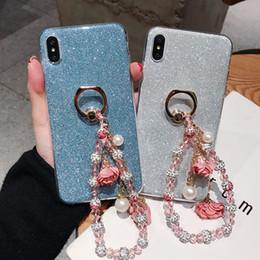 $enCountryForm.capitalKeyWord Australia - Kawaii Cute Bling Diamond Gliter With Bead Pearl Hand Chain Finger Ring Holder Phone Case Soft TPU Cover For iPhone X Xr Xs Max 8 7 6S Plus