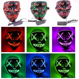 ingrosso costumi fantasmi-Halloween Maschera LED illumina in su divertenti maschere El Filo The Ghost Con Sangue Elezione Anno Grande Festa Cosplay Costume Party Mask XD21428
