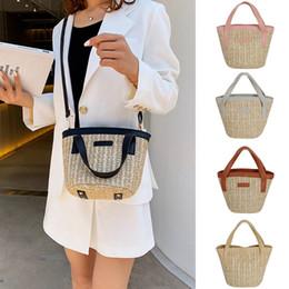 $enCountryForm.capitalKeyWord Australia - New Elegant Shoulder Bag Women Wild Simple Messenger Bag For Girls Summer Straw Weave Handbag Crossbody Contrast Bucket K614