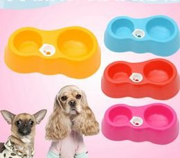 Drinking bowls for Dogs online shopping - Pet Dog Cat Kitten Dual Feeder Bowl drinking Drink Water Fountains Feeders For Dogs Food Dispenser Feeder Cat Drinking Bowl Cup VVA323