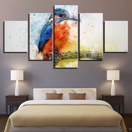 $enCountryForm.capitalKeyWord NZ - Modern Cuadros Decoration For Living Room 5 Panels Abstract Colorful Bird Painting Modular Fashion Picture Unframed Canvas Art