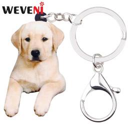 $enCountryForm.capitalKeyWord Australia - WEVENI Acrylic Sitting Labrador Dog Key Chains Keychain Ring Animal Pets Jewelry For Women Girls Gift Bag Car Wallet Charms 2019