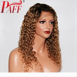 tone hair color lace fronts Australia - PAFF 13x4 Ombre Curly Human Hair Wig With Baby Hair Pre Plucked Lace Front Wigs Remy Brazilian Wigs Glueless With Two Tone Color