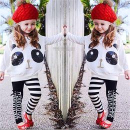 $enCountryForm.capitalKeyWord Australia - Girls 2Pcs Outfits Panda Long Sleeve Bat sleeve Sequin Tops+Striped Pants Kids Baby Clothing Sets girls clothes fast free shipping
