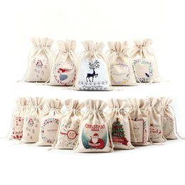 wholesale small christmas gift bags NZ - Christmas Canvas Small Gift Bag Home Storage Drawstring Cloth Bag Printing Drawstring Beam Port Storage Candy