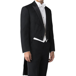 Suits Tails Australia - Tailor Made Wedding Man Tail Coat for Groom Suits Double Breasted 3 Piece Set Black Jacket Pants White Vest for Prom Mens Stage