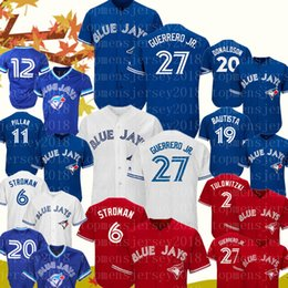 Jays azuis 27 Vladimir Guerrero Jr. Jersey Toronto Blue Jay 11 Pilar Kevin 6 Marcus Stroman 19 Basebol Bautista Camisolas Bordados