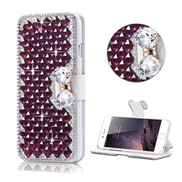 S6 Bling Cases Australia - For Samsung Galaxy Note 9 8 S9 S8 Plus S7 S6 Edge Bling Diamond Bowknot Shiny Crystal Rhinestone PU Leather Card Slot Pouch Flip Cover Case