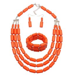$enCountryForm.capitalKeyWord Australia - Three piece Set of Colored Beads Hand made Beads with Multi layer Necklace Set free shipping