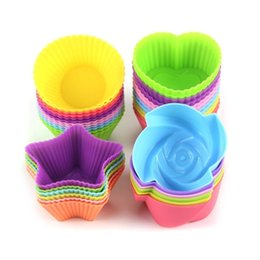 cups shape cake Australia - Hot Cakes Model Flower Star Round Heart shape Baking Cup Mold Silicone Cake Jelly Handmade Soap DIY Tools