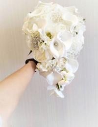 White Tea Roses Australia - 2019 high-end custom drop style white calla rose wedding bridal bouquet