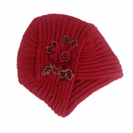 outdoor flowers UK - Autumn and winter wool knitted headgear and cap temperament generous fashion stereo flower lady's headgear windproof outdoor