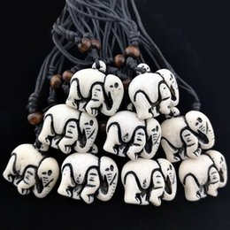 TibeTan sTyle necklace online shopping - Tibetan Style Imitation Bone Carved Cute Elephants pendants necklaces Lucky amulet gifts for men women s jewelry XL17