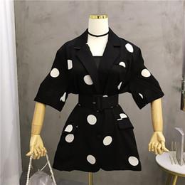 $enCountryForm.capitalKeyWord Australia - Women Polka Dot Print Slim Blazers Sashes 2019 Summer Belt Half Sleeve Jackets Thin Blazers Elegant Coats