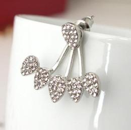 $enCountryForm.capitalKeyWord NZ - DHL Fashion Water Drop Stud Earrings Rhinestone Front Back Paw Double Sided Stud Earrings For Women Ear Jacket Piercing Earings