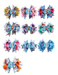 Cartoon ribbon hair bows online shopping - 4 inchs Styles Cartoon Anna printing ribbed ribbon knotbows bobby pin children hairpins creative hair accessories