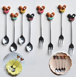 coffee stirring sticks wholesale UK - Knife and fork donut cartoon stir stick creative home cute cake fruit fork honey coffee stirring spoon