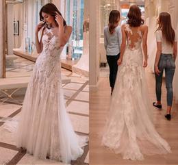 Modern Vintage Dresses China Australia - Vintage Sheer Neck Wedding Dresses 2019 Lace Applique Backless Hollow Back Bridal Gowns from China Vestidos De Novia
