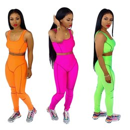 $enCountryForm.capitalKeyWord UK - Fluorescent Women Tracksuit Sleeveless Vest Tanks + Bodycon Pants Leggings 2 Piece Set Patchwork Crop Top Outfits Sport Suit Clothes S-XL