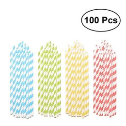 Green Plastic Straws Australia - 100pcs Multicolor Paper Straws Assorted Rainbow Colors Drinking Straw for Wedding Birthday Party (Red & Yellow & Blue & Green)