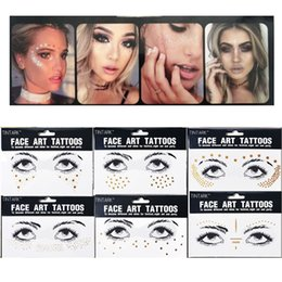 Gold Body Art Tattoo Australia - 1PC Personality Fashion Disposable Gold Face Tattoo Stickers Waterproof Bronzing Beauty Freckles Makeup Flash Body Art D19011202