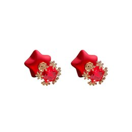 $enCountryForm.capitalKeyWord UK - New Fashion Stud Earrings For Women Red Color Round Ball pig Geometric Earrings For Party Wedding Gift Wholesale Ear Jewelry