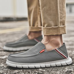 canvas for shoes NZ - Autuspin Slip on Men's Casual Shoes Light Breathable Canvas Boat Shoe for Walking Driving Comfortable Fashion Soft Men Loafers