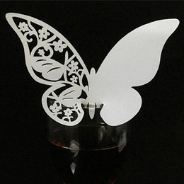 birthday wine glasses Australia - 10 Color 50pcs Laser Cut Butterfly Cup Table Name Place Cards Escort Wine Glass Gift Card Birthday Wedding Event Party Supplies