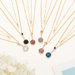 $enCountryForm.capitalKeyWord Australia - kendra style Resin Round druzy necklace fashion designer necklace jewelry brass rhodium Gold plated free shipping Two necklace pearl
