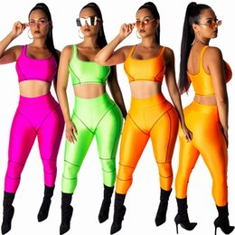 orange cycling vest UK - Women Tracksuits Yoga Suits Sports Two Piece Pant Outfits Sleeveless Vest Long Pant Set Solid Slim Fitness Clothes Orange Green Rose Red