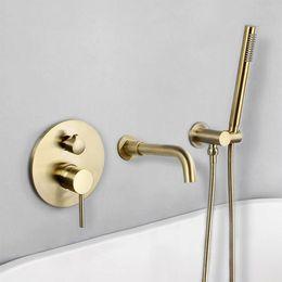 $enCountryForm.capitalKeyWord Australia - Brushed Gold Brass Wall Mounted Bathtub Shower Set Bathtub Faucet Mixer Bathroom Shower Faucet Bath Spout Shower Tap