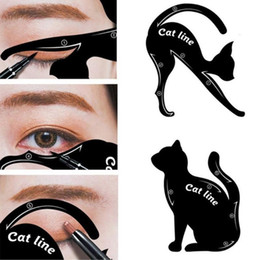 hot girls model Australia - Hot 2pcs set Beauty Eyebrow Mold Cat Eye Makeup Tool Eyeliner Stencil Makeup Eyebrow Models Stamp Template Card For Women Girl