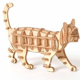 kids craft kits wholesale UK - Laser Cutting DIY Animal Cat Toys 3D Woods Puzzles & Gamesen Puzzle Toy Assembly Model Wood Craft Kits Desk Decoration for Children Kid