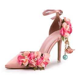 big sale 8ba57 e93b5 Blumen Sandalen Perlen Quaste Spezielle Design Schöne Sweety Mädchen High  Heels Dünne 9 cm Rosa Prinzessin Kleid Schuhe Schöne Braut
