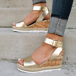 Discount comfortable ladies sandals - Fashion Summer Women Fish Mouth Casual Sandals Party Platform Sandals Ladies Comfortable Wedge Heels Female Ankle Buckle