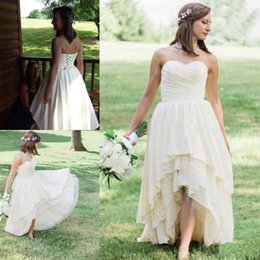HigH low lace western wedding dress online shopping - 2019 Western Country A Line High Low Wedding Dresses Sweetheart Neck Tired Skirts Lace Short Bohemian Beach Bridal Gowns Cheap Plus Size
