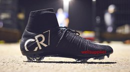 cr7 cristiano ronaldo soccer cleats Australia - Original CR7 Black 100% Soccer Cleats Mercurial Superfly V FG Outdoor Soccer Shoes Mens Top Quality Cristiano Ronaldo Football Boots