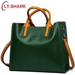 $enCountryForm.capitalKeyWord Australia - Cheap Top-Handle s LY.SHARK Big Messenger Bag Shoulder Bag Female Bag Ladies Genuine Leather Bags For Women 2019 Women Handbags Green Black